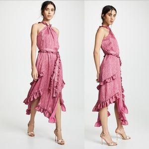 DEREK LAM 10 CROSBY Lurex Chiffon Midi Dress NWOT